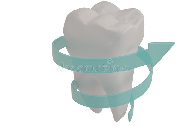 Tooth protection concept tooth and spiral arrow 3D illustration. Tooth protection concept tooth and spiral arrow 3D illustration stock illustration