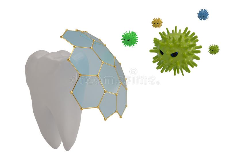 Tooth protection concept tooth and viruses 3D illustration. Tooth protection concept tooth and viruses 3D illustration vector illustration