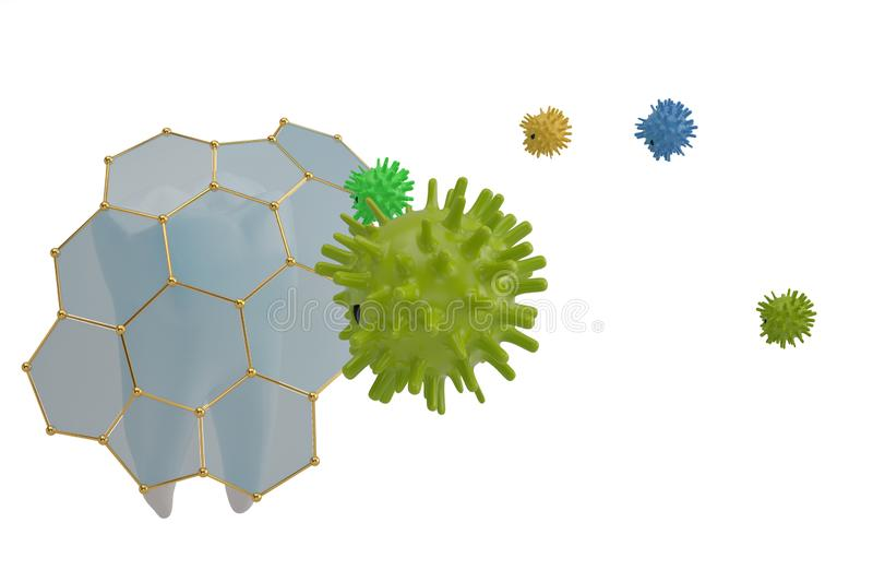 Tooth protection concept tooth and viruses 3D illustration. Tooth protection concept tooth and viruses 3D illustration royalty free illustration