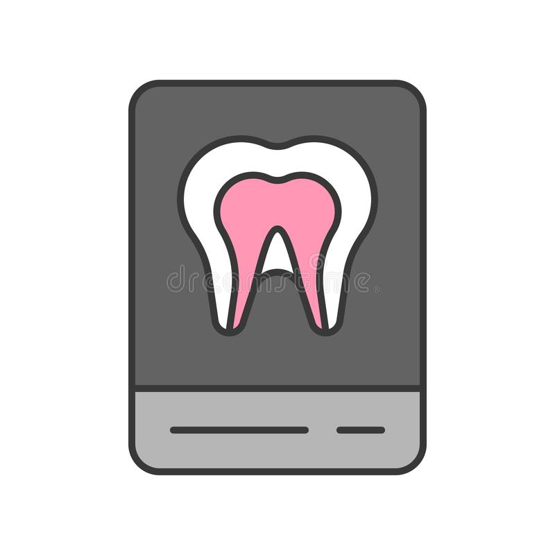 Tooth x ray film, dental related icon, filled outline.  vector illustration