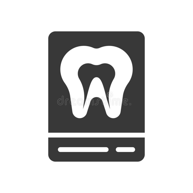 Tooth x ray film, dental related solid icon.  stock illustration