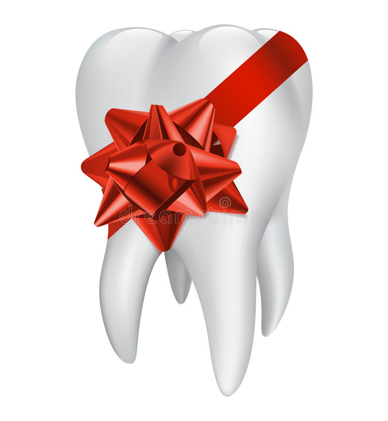 Tooth with red gift bow. Vector illustration royalty free illustration