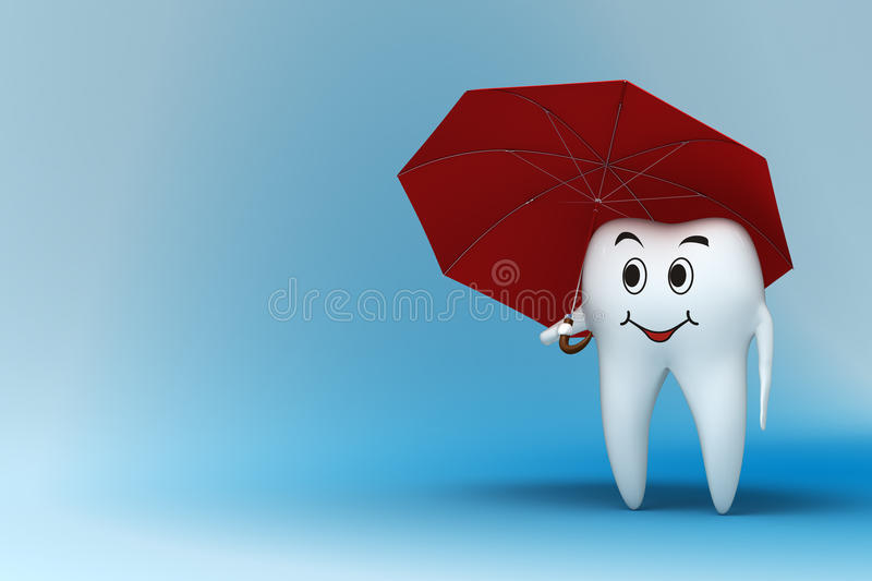 Tooth With Red Umbrella Stock Photo