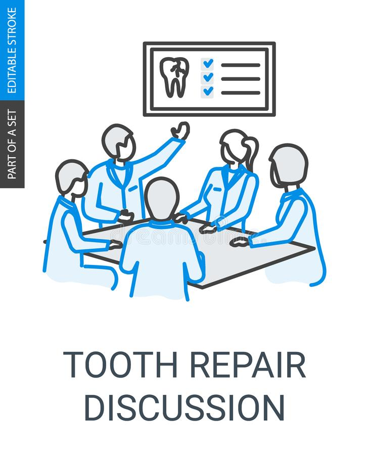 Tooth repair dentists team discussion linear icon stock illustration