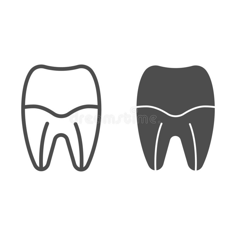 Tooth root line and glyph icon. Tooth canal vector illustration isolated on white. Dental care outline style design stock illustration