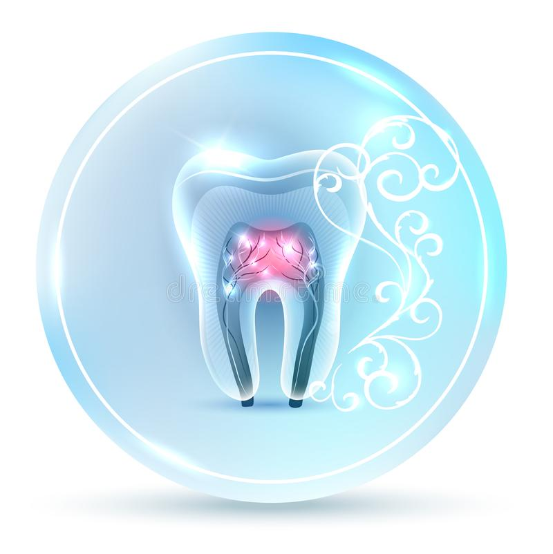 Tooth with roots symbol royalty free illustration