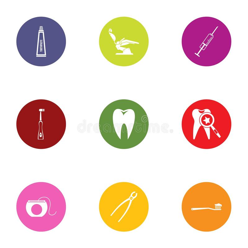 Tooth save icons set, flat style. Tooth save icons set. Flat set of 9 tooth save vector icons for web isolated on white background royalty free illustration