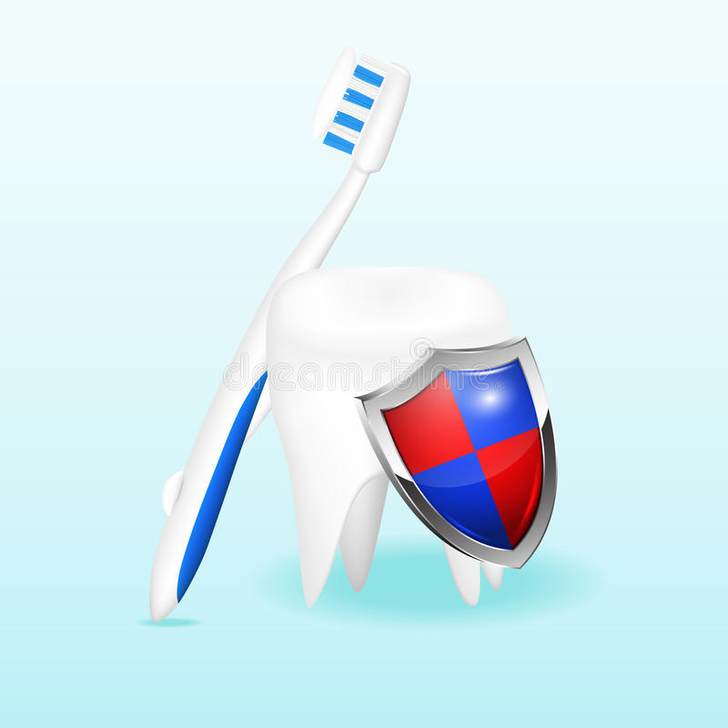 Tooth with a shield and a toothbrush, vector illus