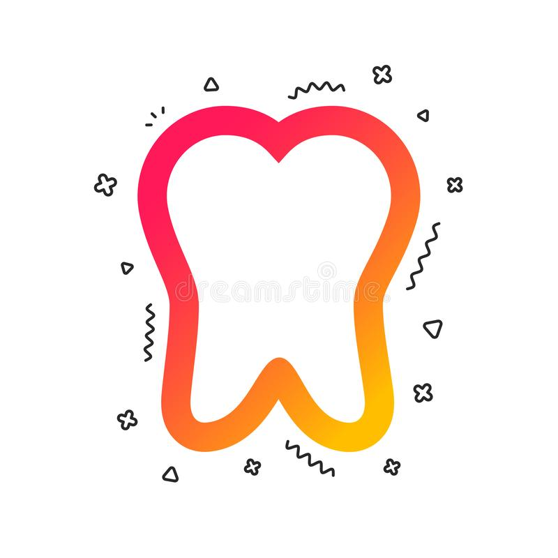 Tooth sign icon. Dental care symbol. Vector. Tooth sign icon. Dental care symbol. Colorful geometric shapes. Gradient tooth icon design. Vector royalty free illustration