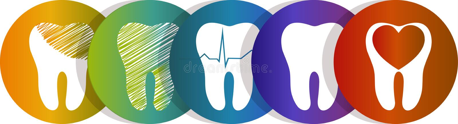 Tooth symbol set stock illustration