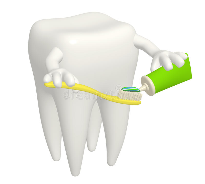 Tooth with toothbrush stock illustration