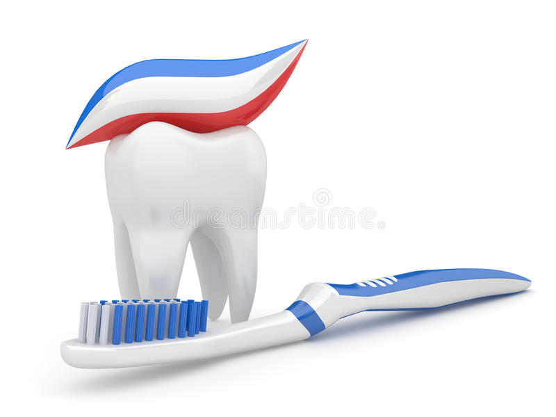 Tooth and toothbrush. 3d
