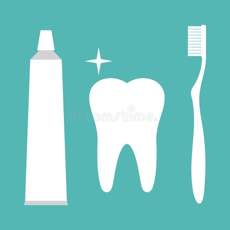 Tooth with a toothbrush and toothpaste. Brushing teeth. Dental care and hygiene symbol. Healthy teeth. Illustration Tooth with a toothbrush and toothpaste royalty free illustration