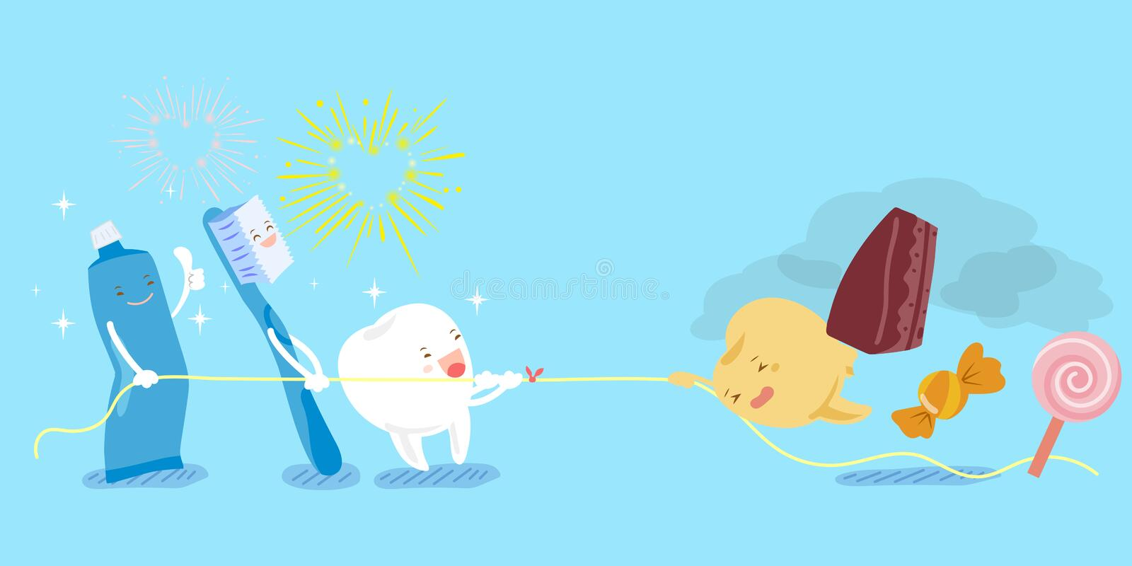 Tooth in the tug of war stock illustration