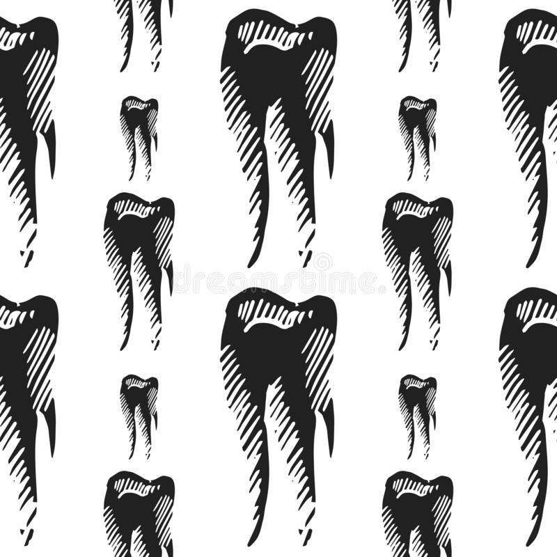 Tooth vector seamless pattern stock images