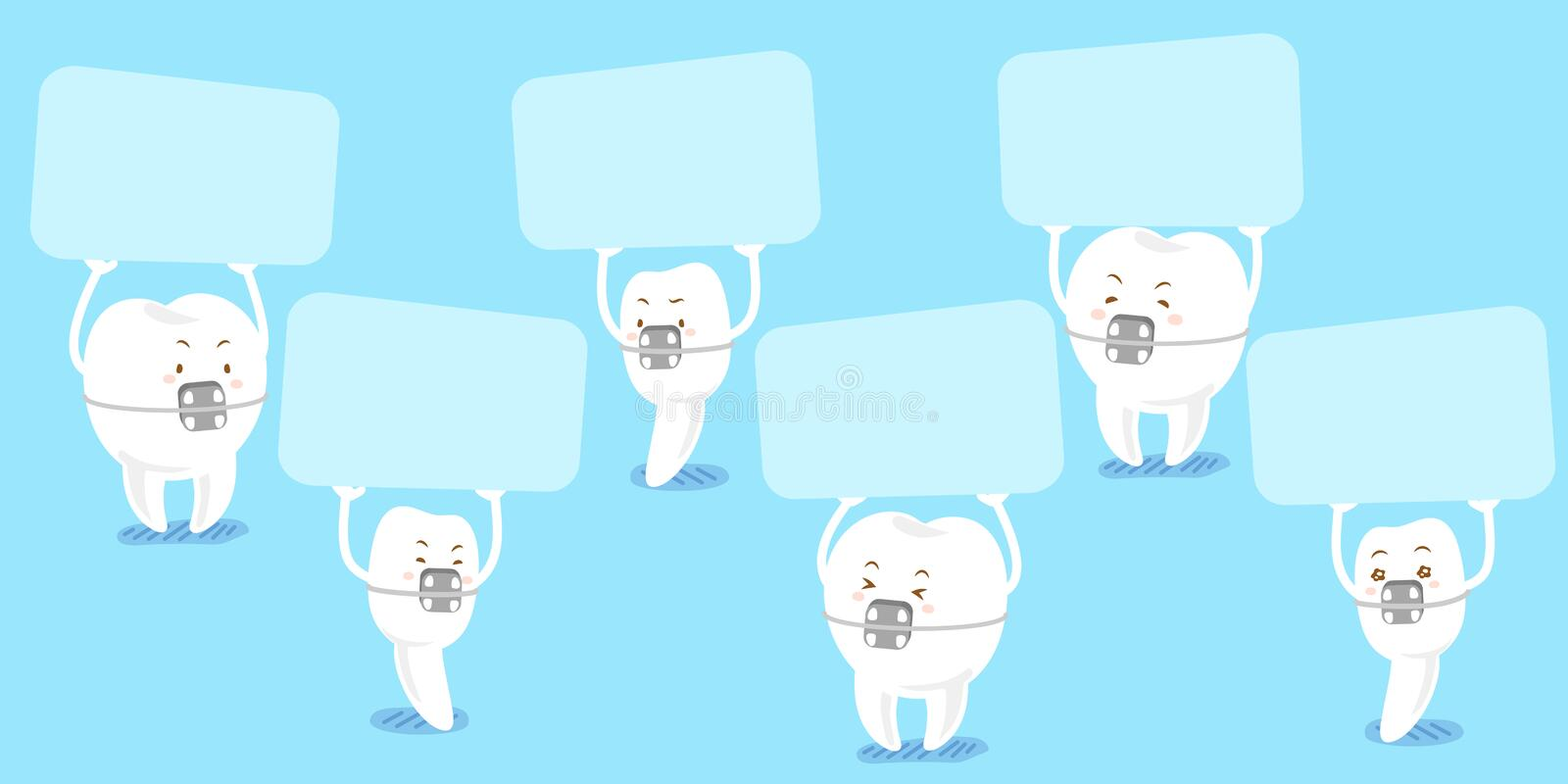 Tooth wear brace take billboard stock illustration