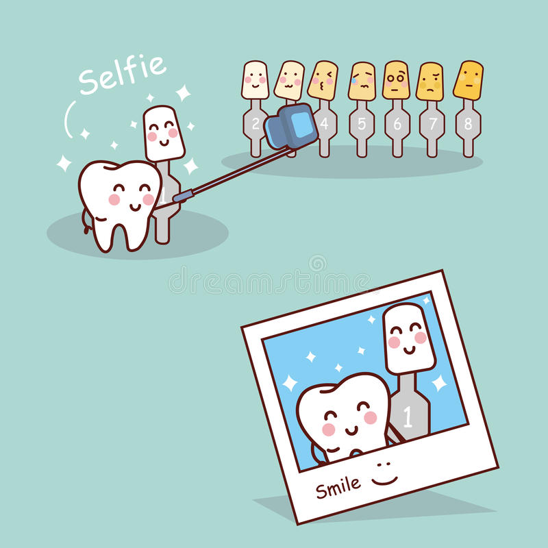 Tooth and whitening tool selfie stock illustration