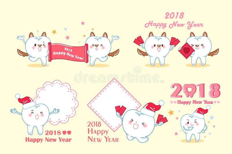 Tooth with 2018 year vector illustration