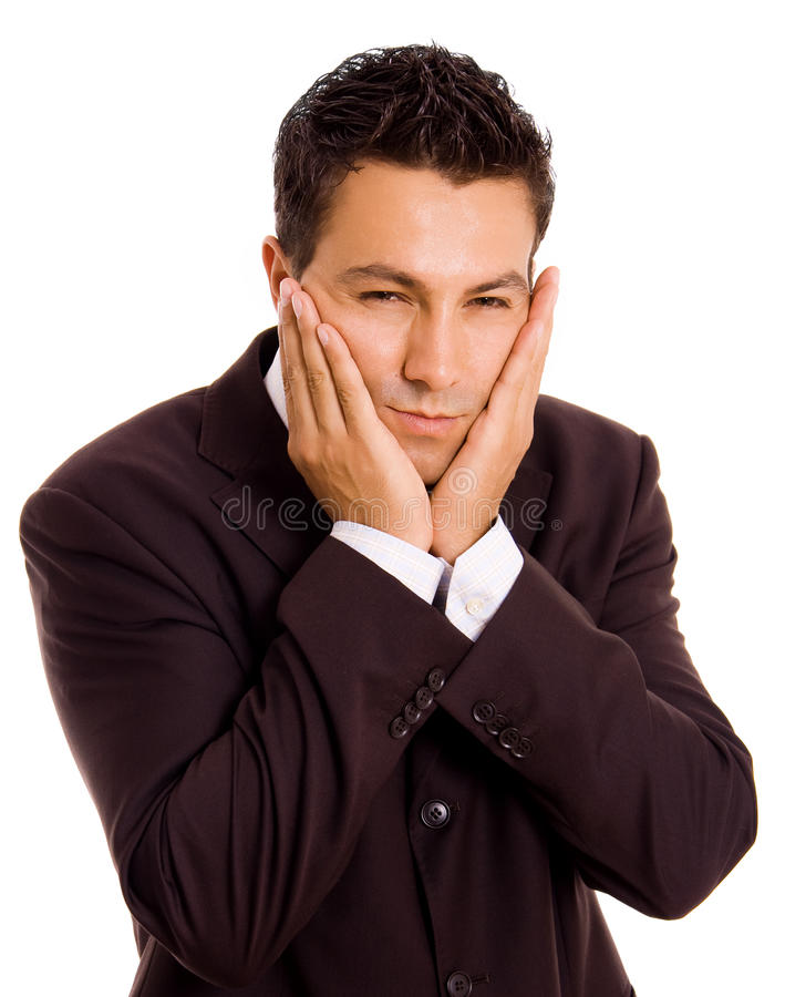 Toothache. Young business man whith a toothache over white background stock photos
