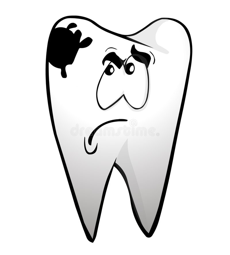 Toothache. A tooth with face and caries stock illustration