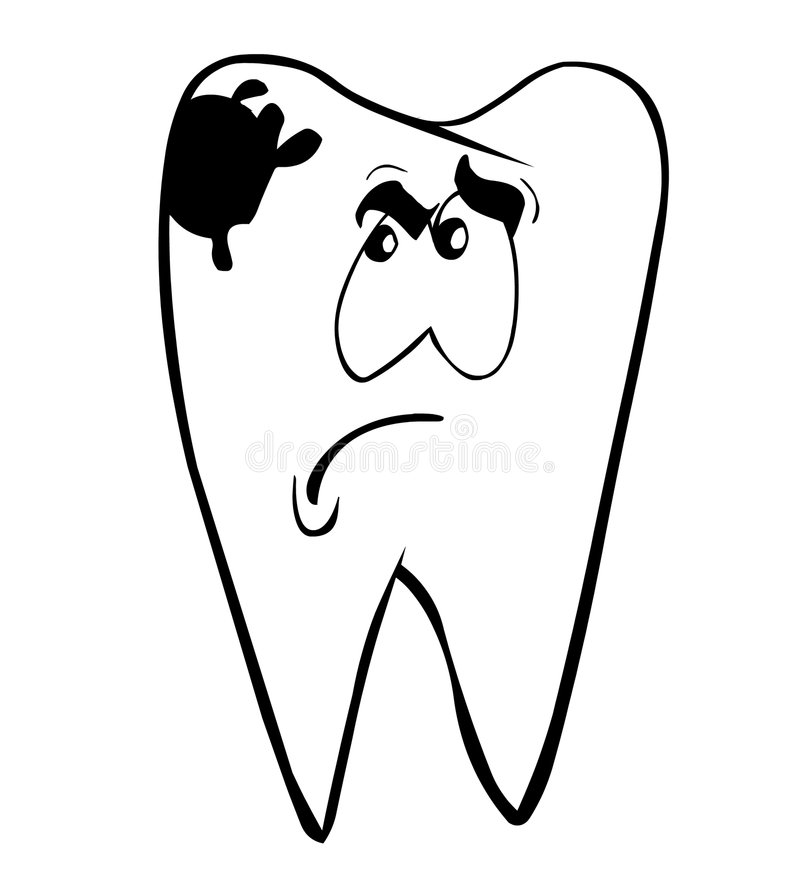 Toothache. A tooth with face and caries royalty free illustration