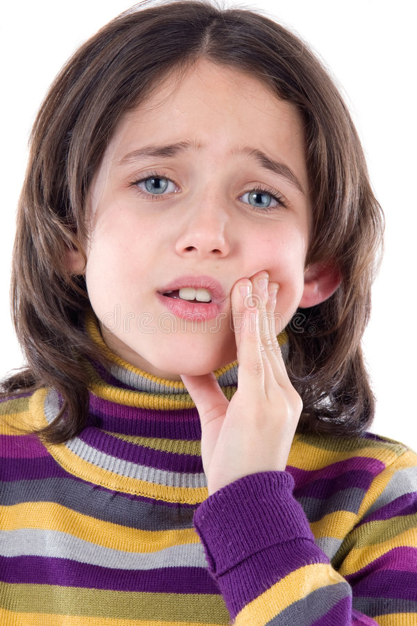 Toothache adorável do whit da menina fotografia de stock