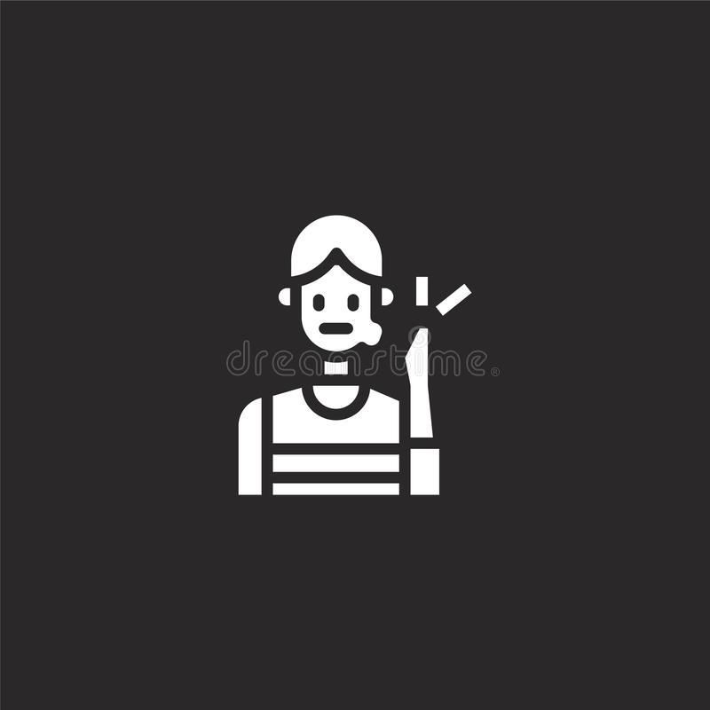 Toothache icon. Filled toothache icon for website design and mobile, app development. toothache icon from filled dental collection. Isolated on black background royalty free illustration