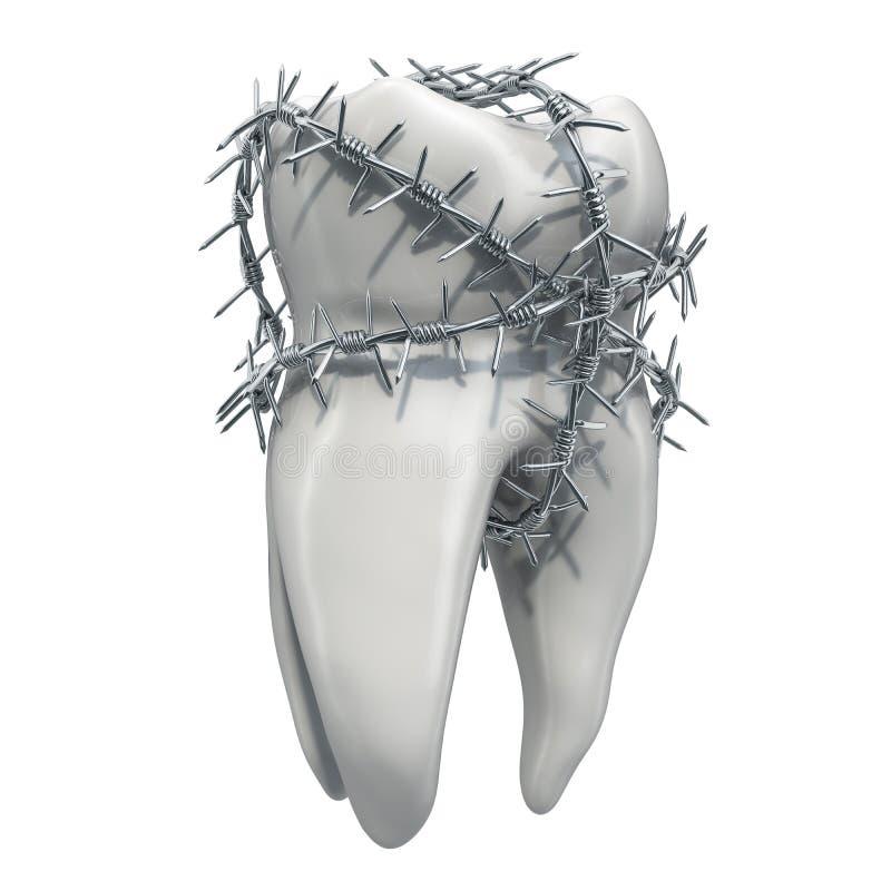 Toothache pojęcie Ząb z drutem kolczastym, 3D rendering ilustracji