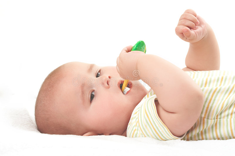 toothbrooshing的婴孩 免版税库存照片