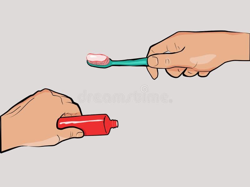 Toothbrush e dentífrico nas mãos ilustração do vetor