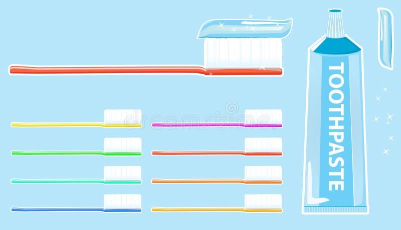 Toothbrush e dentifricio in pasta royalty illustrazione gratis