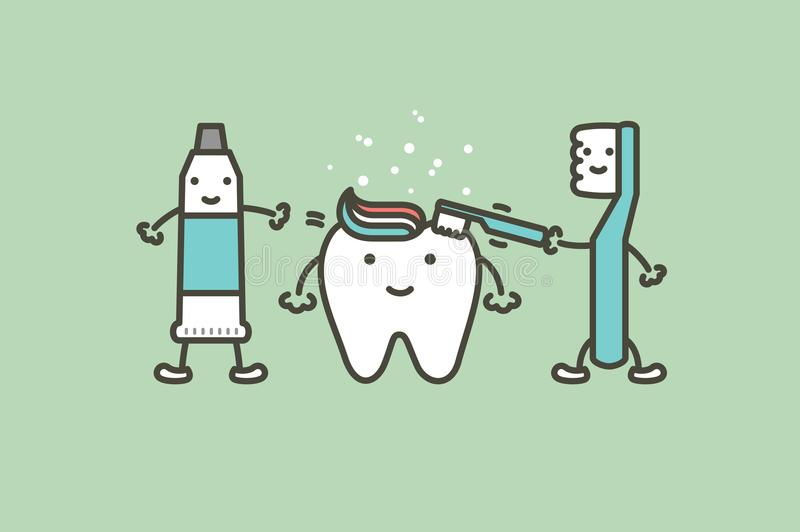 Toothbrush i pasta do zębów szczotkujemy zęby zdrowy biały ząb - stomatologicznej kreskówki mieszkania wektorowy styl ilustracji
