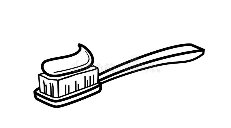 Kids Toothbrush Black And White Outline Clipart