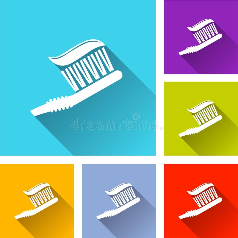 Toothbrush icons with long shadow stock illustration