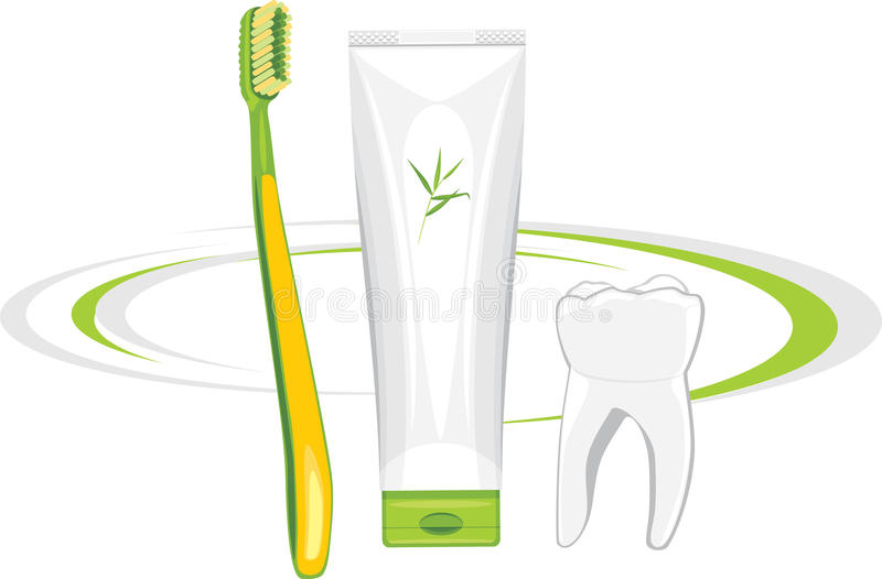 Toothbrush and organic toothpaste royalty free stock photography