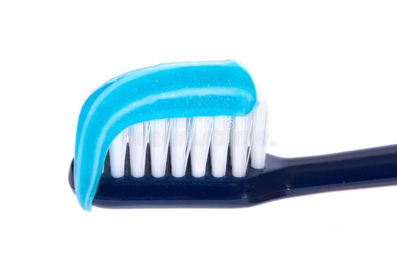 Toothbrush with paste. Photo on the white background stock photos