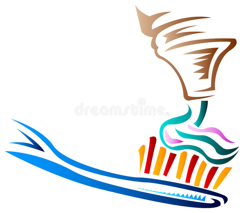 Toothbrush with paste. Clip art image vector illustration