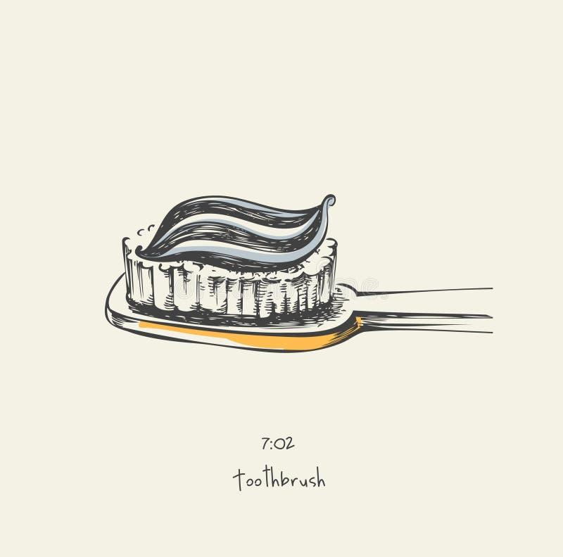 7:02 toothbrush - rysujący ilustracji