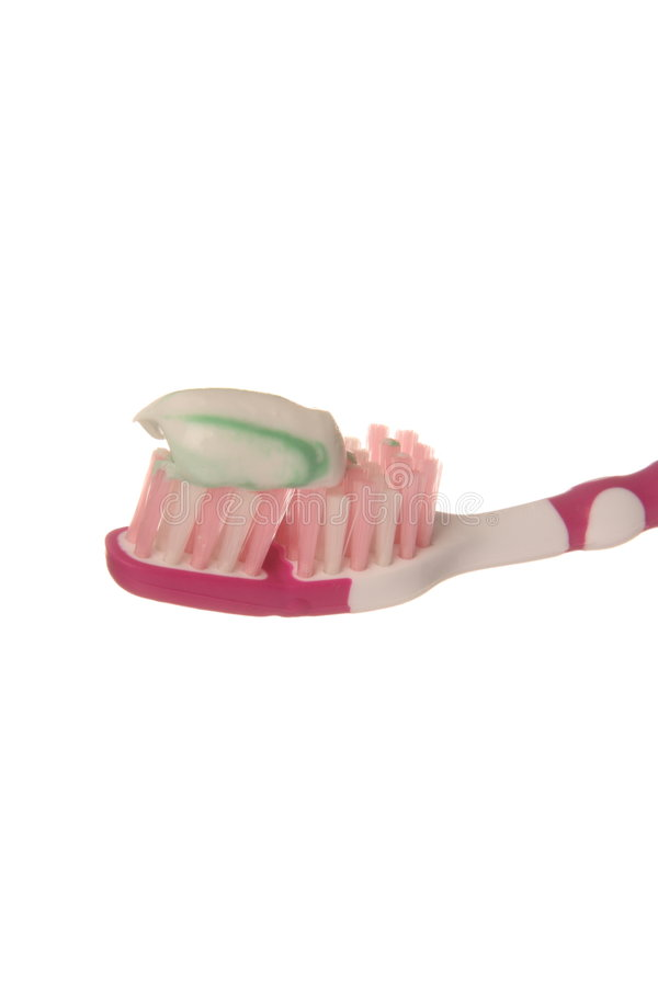 Toothbrush and toothpaste. Tooth brush and tooth paste isolated on white background royalty free stock photo