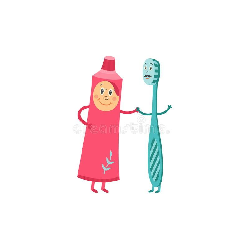 Toothbrush and toothpaste cartoon characters dancing together isolated on white background. royalty free illustration