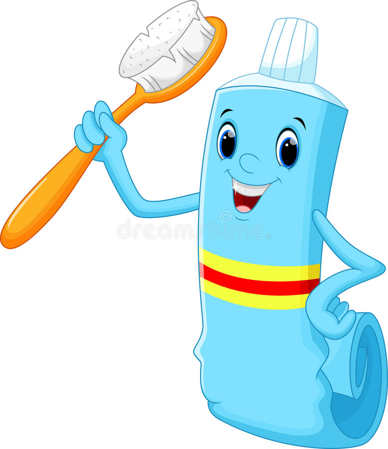 Toothbrush and toothpaste cartoon vector illustration