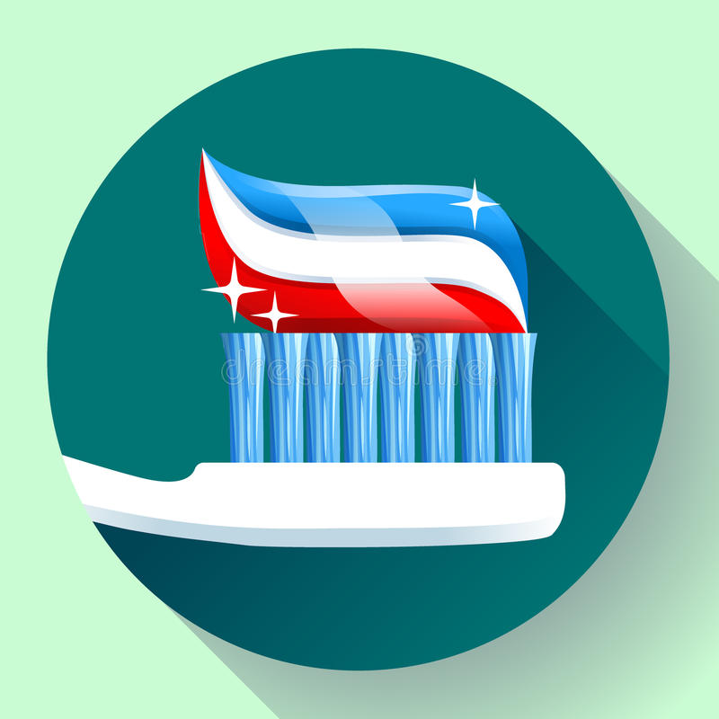 Toothbrush with toothpaste Icon flat style. Tricolor and shining sparkles vector illustration