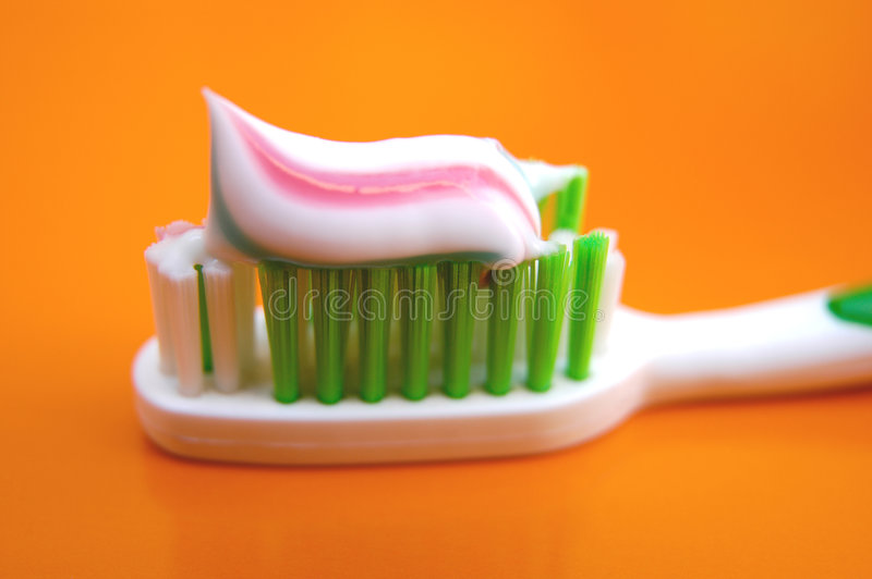 Toothbrush with toothpaste II stock photo