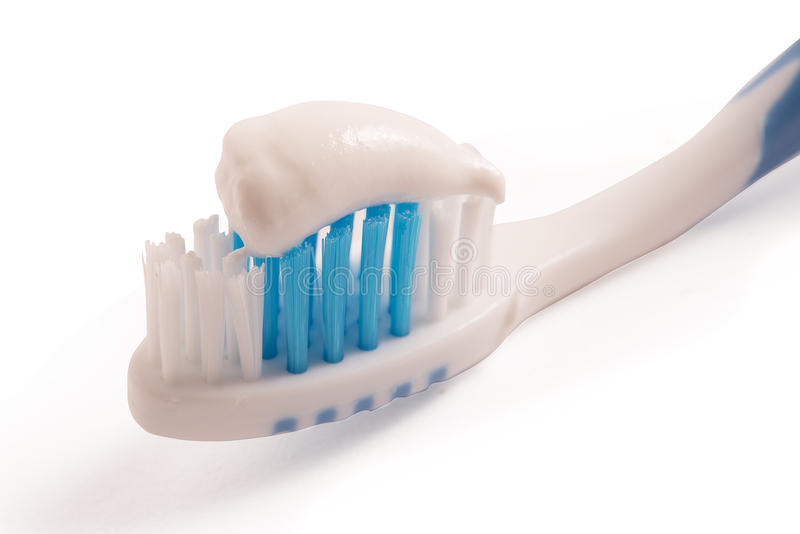 Toothbrush with toothpaste. Tooth brush with tooth paste royalty free stock photos