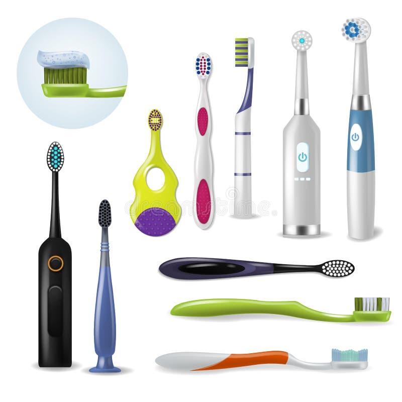 Toothbrushe-Vektor-Mundpflegezahnbürste für bürstenden teethwith Zahnpastaillustrations-Zahnheilkundesatz von realistischem vektor abbildung