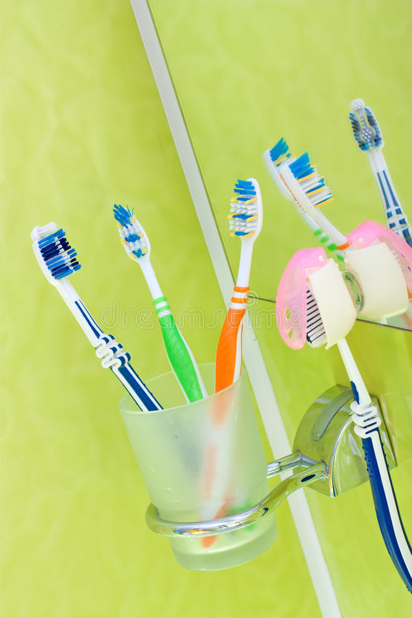 Download Toothbrushes stock image. Image of blue, glass, dental - 19538077
