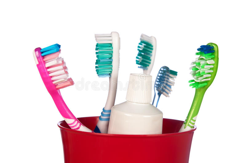 Download Toothbrushes in a cup stock photo. Image of horizontal - 16087992