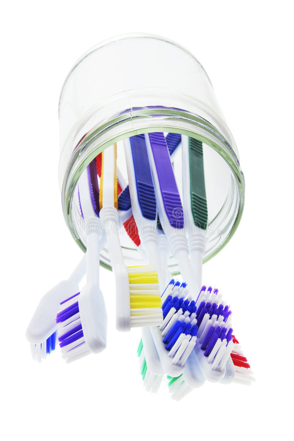 Download Toothbrushes in Glass Jar stock image. Image of storage - 7089181