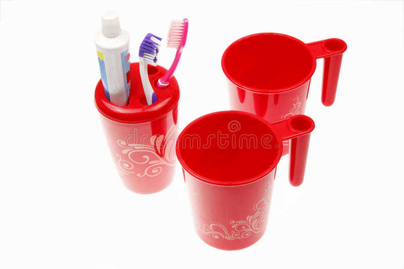 Download Toothbrushes & toothpaste stock photo. Image of cups - 12219998