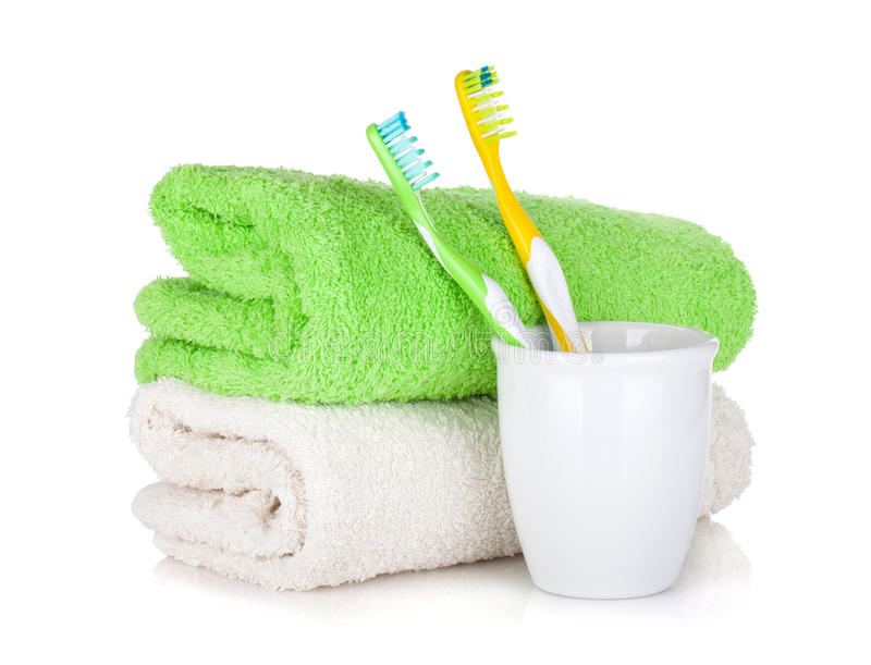 Download Toothbrushes And Two Towels Stock Image - Image: 27018487